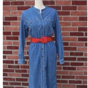 Jean Dress Denim Blue Maxi L/S Cotton, Modest ,